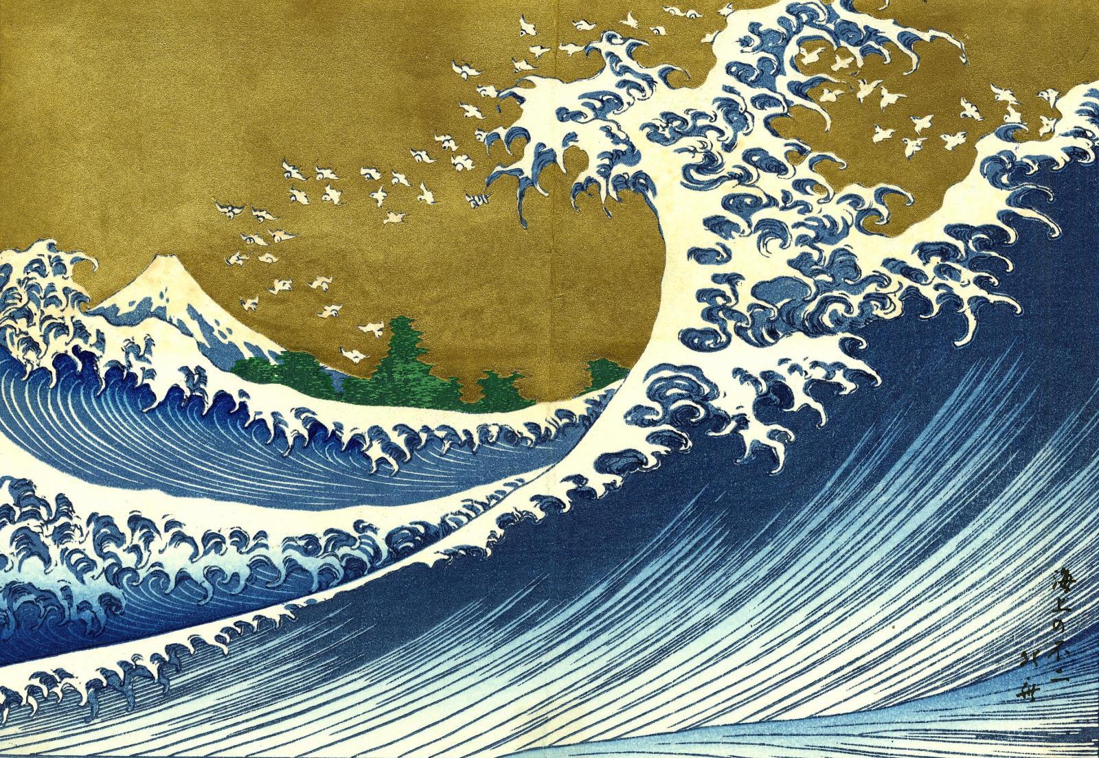 Resultado de imagen de la ola pintura japonesa