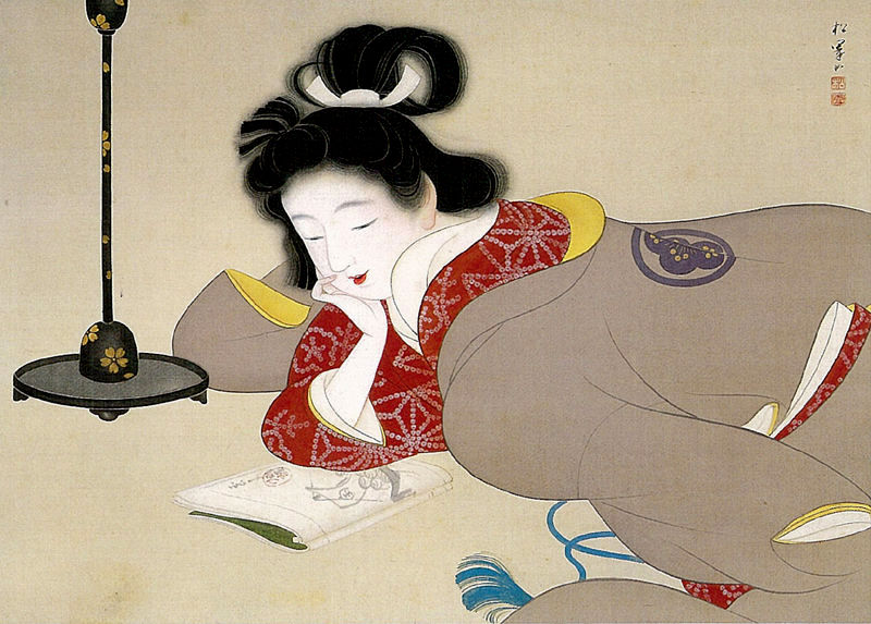 Shoen, Uemura (1875-1949) Reading