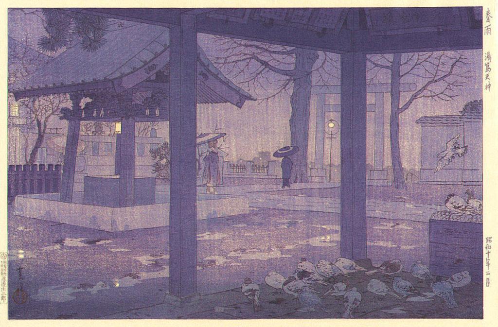 kasamatsu_yushima-tenjin-shrine-in-spring-rain-1935